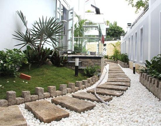 Bán đá sỏi trắng trang trí sân vườn