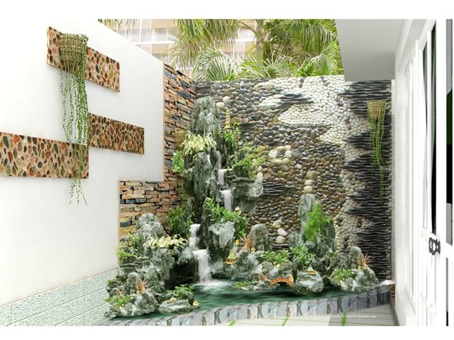 tường đá thác nước